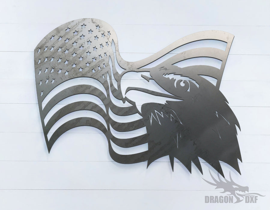 American Flag with Eagle (Right) -  DXF Download