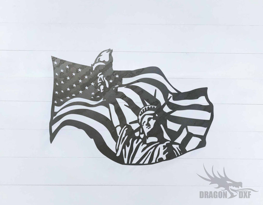 American Flag and Liberty sign - DXF Download
