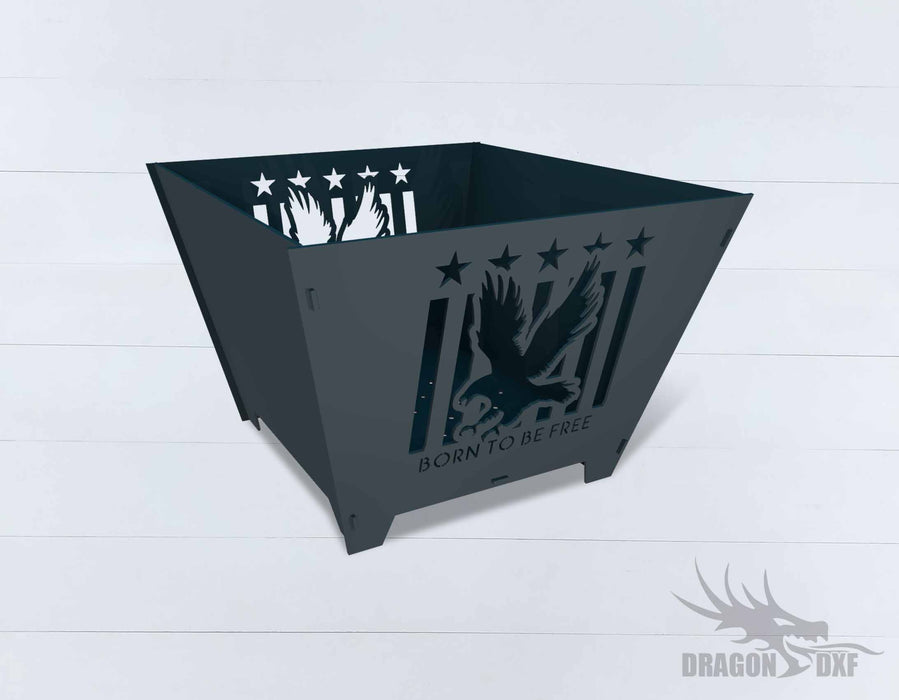 Collapsible Customize Firepit Born To Be Free - Cut and Assemble - DXF Downloadable File