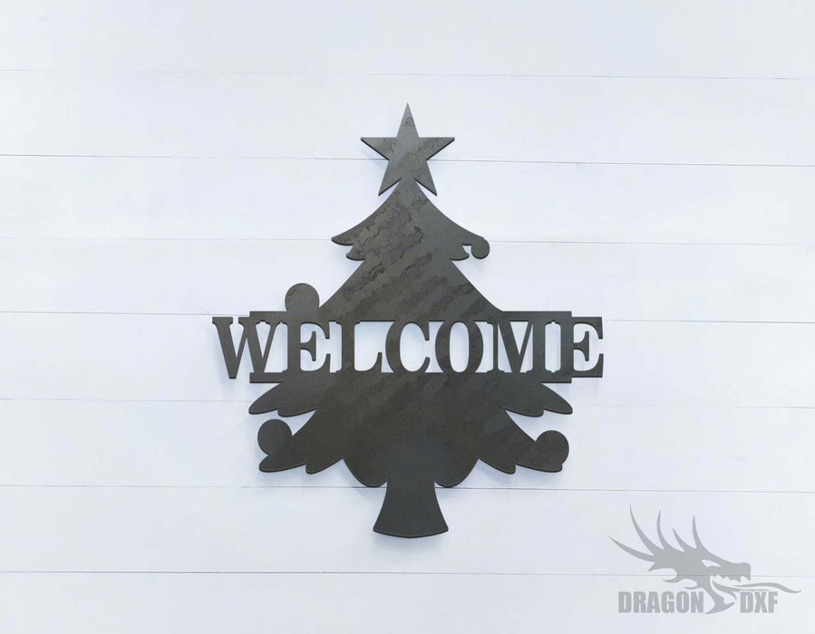 Christmas Tree Welcome Sign - DXF Download
