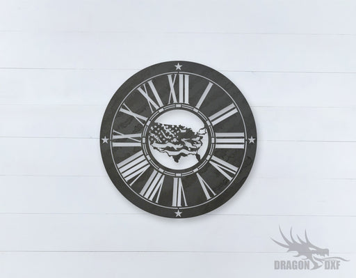 American Clock Design 13  - DXF Download