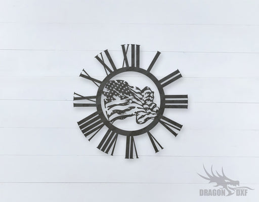 American Clock Design 14  - DXF Download