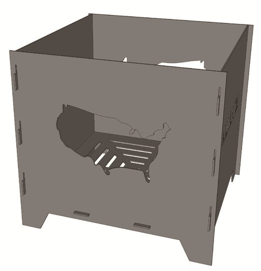 Collapsible Fire pit Square Box America - Cut and Assemble - DXF Downloadable File