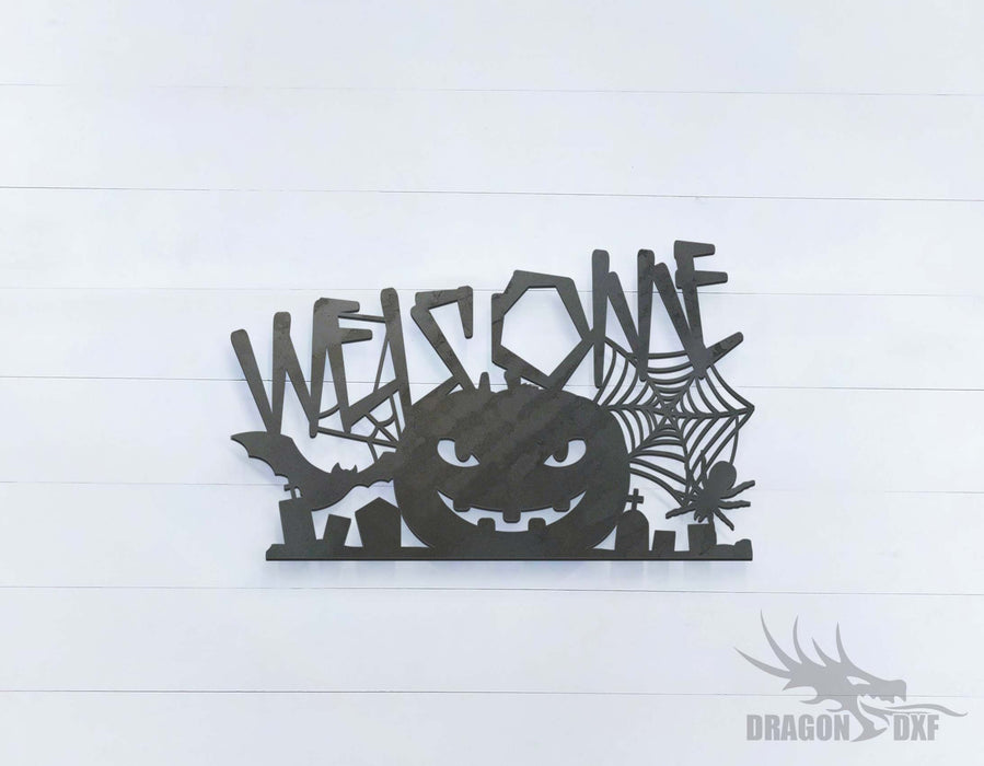 Halloween Pumpkin Welcome Sign - DXF Download