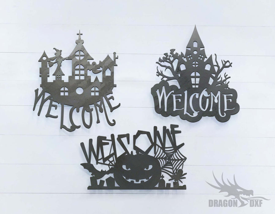 Halloween Welcome Sign Bundle 1 - DXF Download