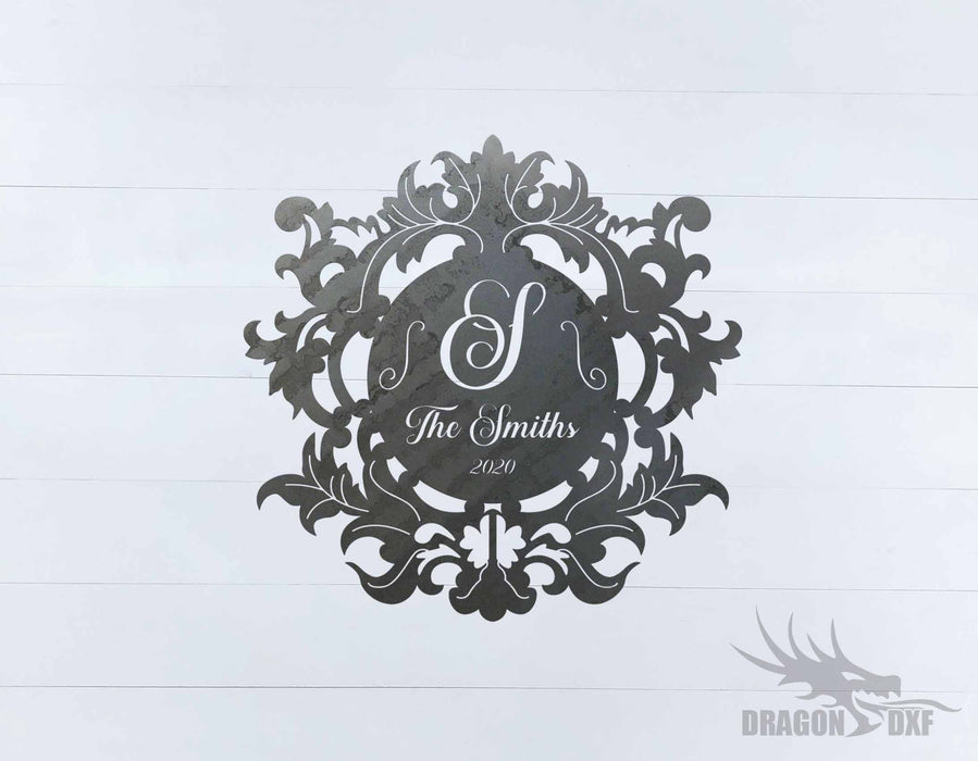 Filigree Family Name with Initial 4 - DXF Download