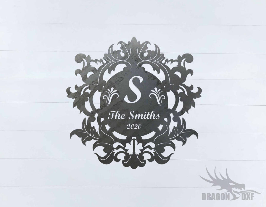 Filigree Family Name with Initial 5 - DXF Download