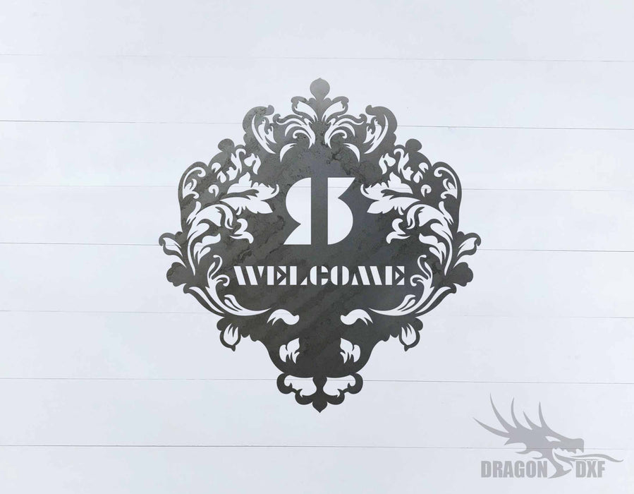 Filigree Welcome w Initial Sign 2 - DXF Download