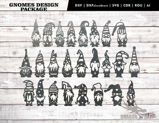 Garden Gnomes Version 1 (25 Designs) - Plasma Laser DXF Cut File