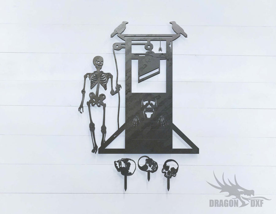 Halloween Skeleton Guillotine Skulls Crows Spider - DXF Download
