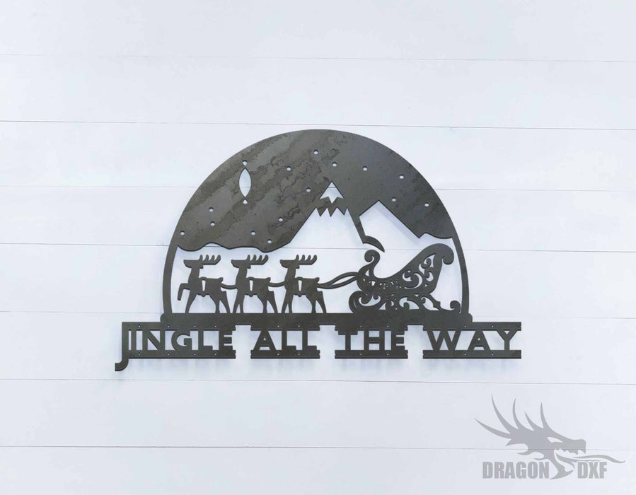 Jingle All the Way Reindeer Sleighing Sign - DXF Download