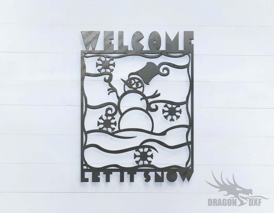 Let It Snow Welcome Sign - DXF Download