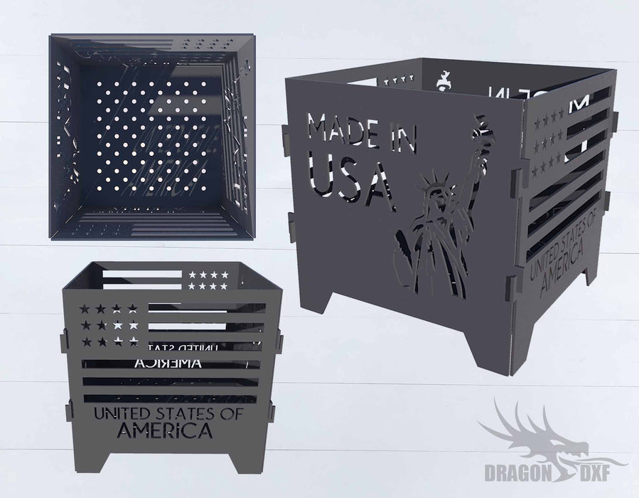 Made in the USA Firepit - Cut and Assemble - DXF Downloadable File