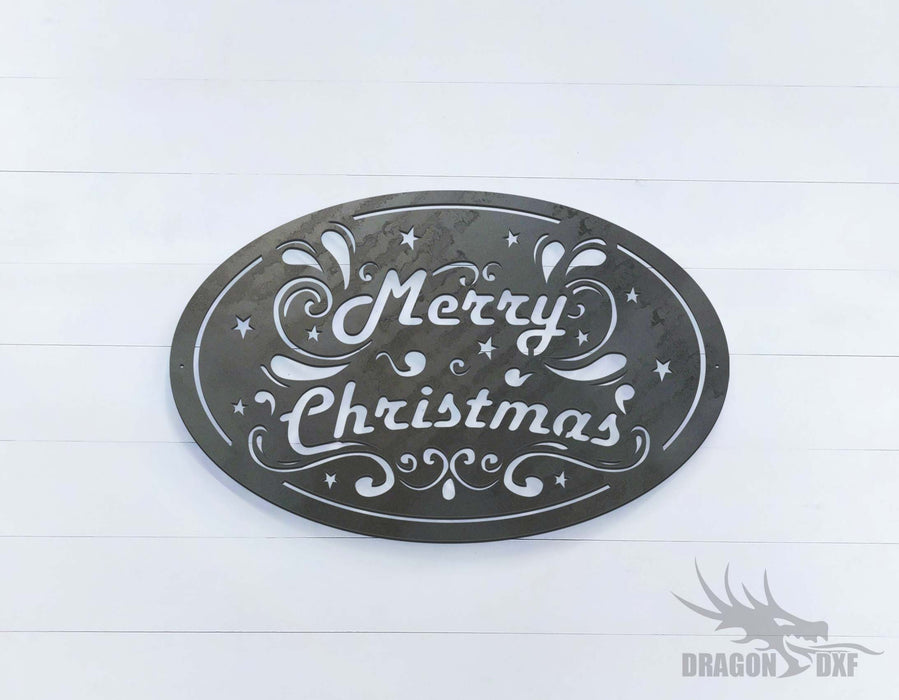 Merry Christmas - Oval - DXF Download