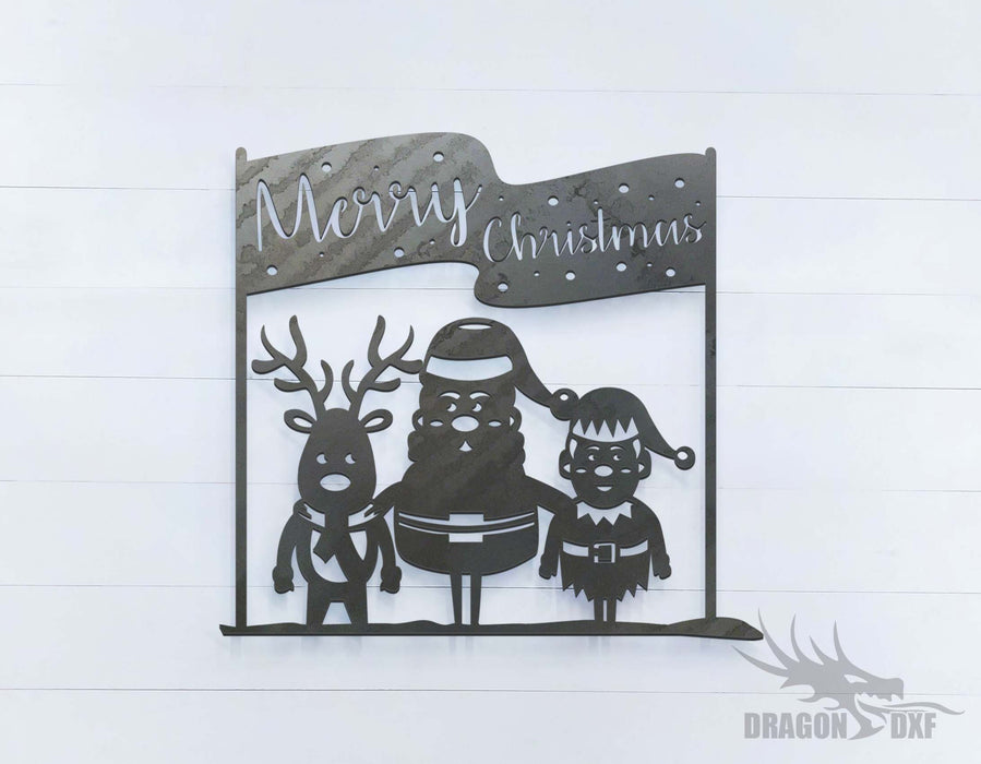 Merry Christmas (approximately 16 x 15 inches) - DXF Download