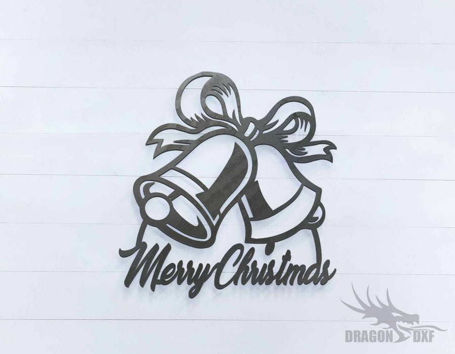 Merry Christmas Bells Sign - DXF Download