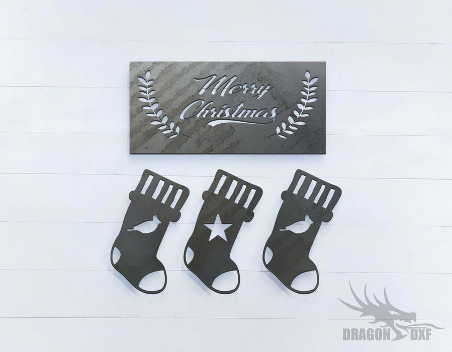 Merry Christmas Socks - DXF Download