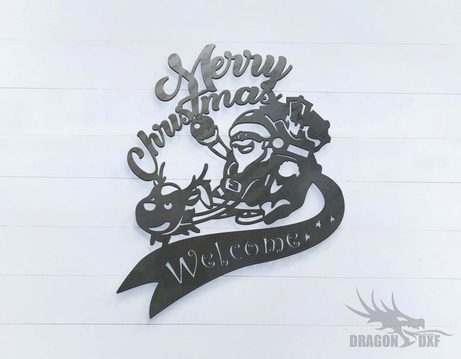 Merry Christmas Welcome Sign with Santa Claus - DXF Download