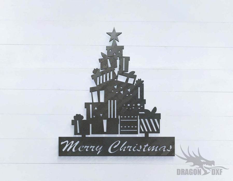 Merry Christmas with Christmas Tree Gift - DXF Download