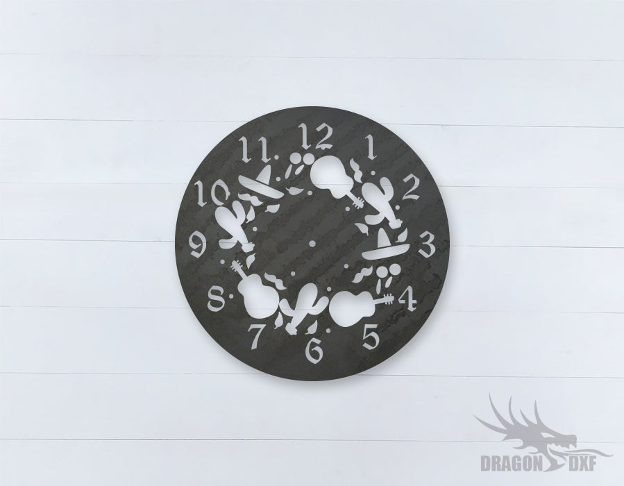 Mexican Clock Design 9  - DXF Download