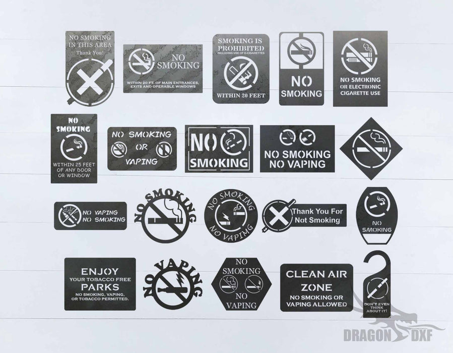 No Smoking Sign Bundle - DXF Download