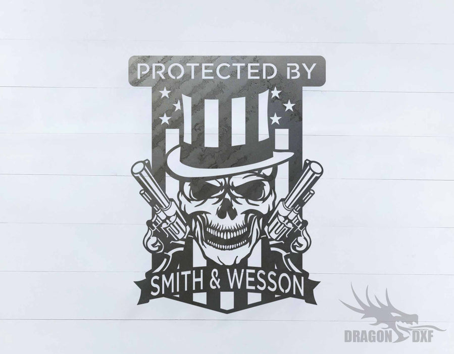 Protected By Smith and Wesson sign - DXF Download