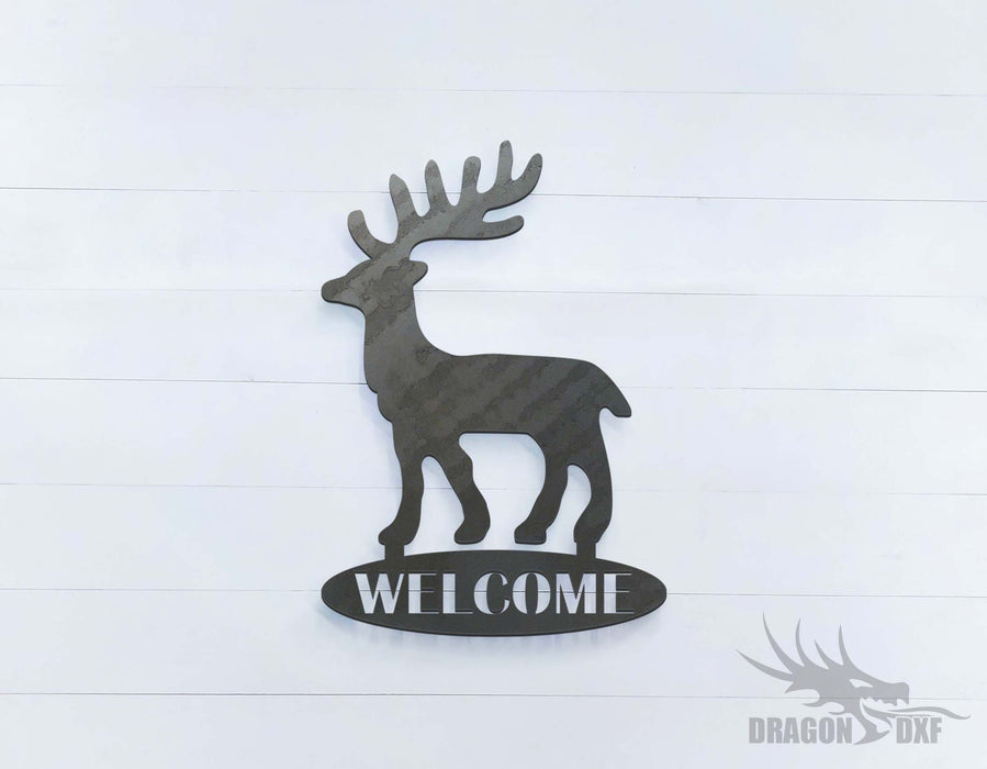 Reindeer Welcome Sign - DXF Download