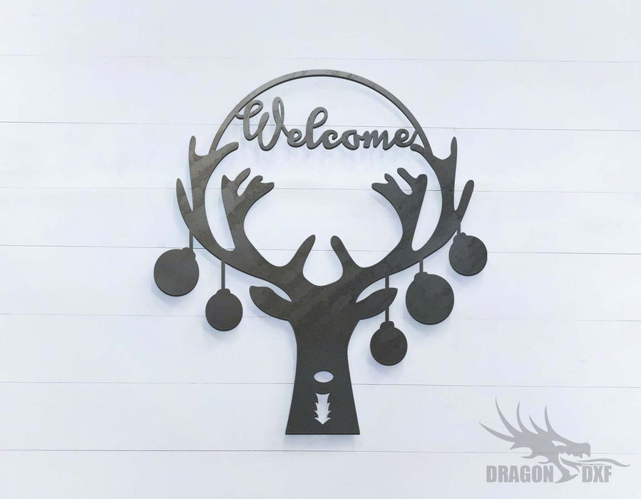 Reindeer Welcome Sign (approximately 17 x 18 inches) - DXF Download