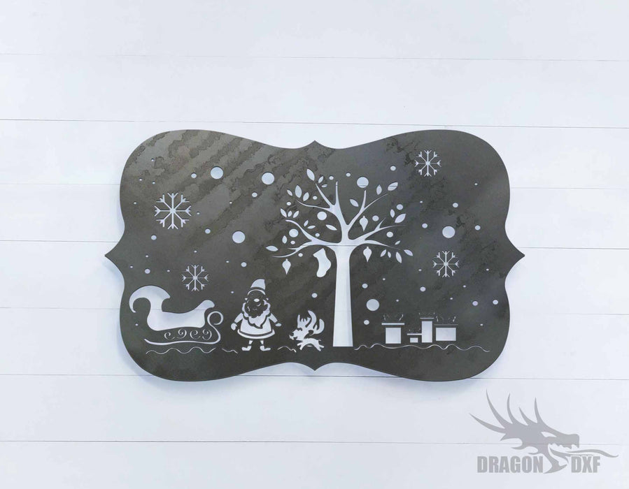 Santa Claus, Trees and Gifts Sign - DXF Download