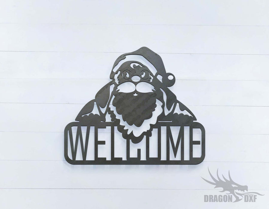 Santa Claus Welcome Sign - DXF Download