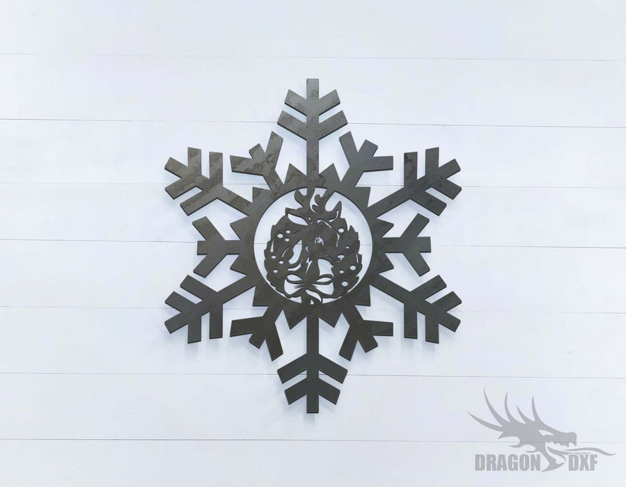 Snow Flakes with Reindeer - DXF Download