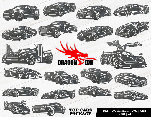 Top Cars Package (20 Designs) - Plasma Laser DXF Cut File