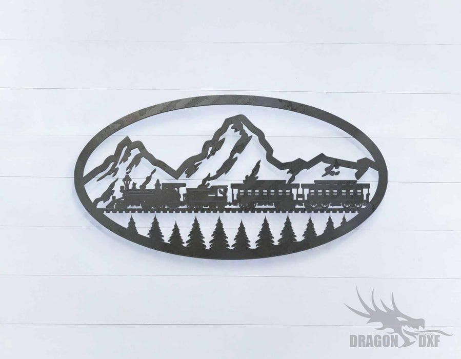 Train and Mountain Oval - DXF Download