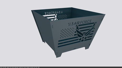 Collapsible Customize Fire pit US Airforce - Cut and Assemble - DXF Downloadable File