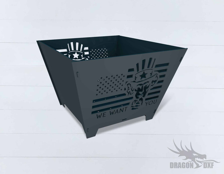 Collapsible Customize Firepit We Want You - Cut and Assemble - DXF Downloadable File