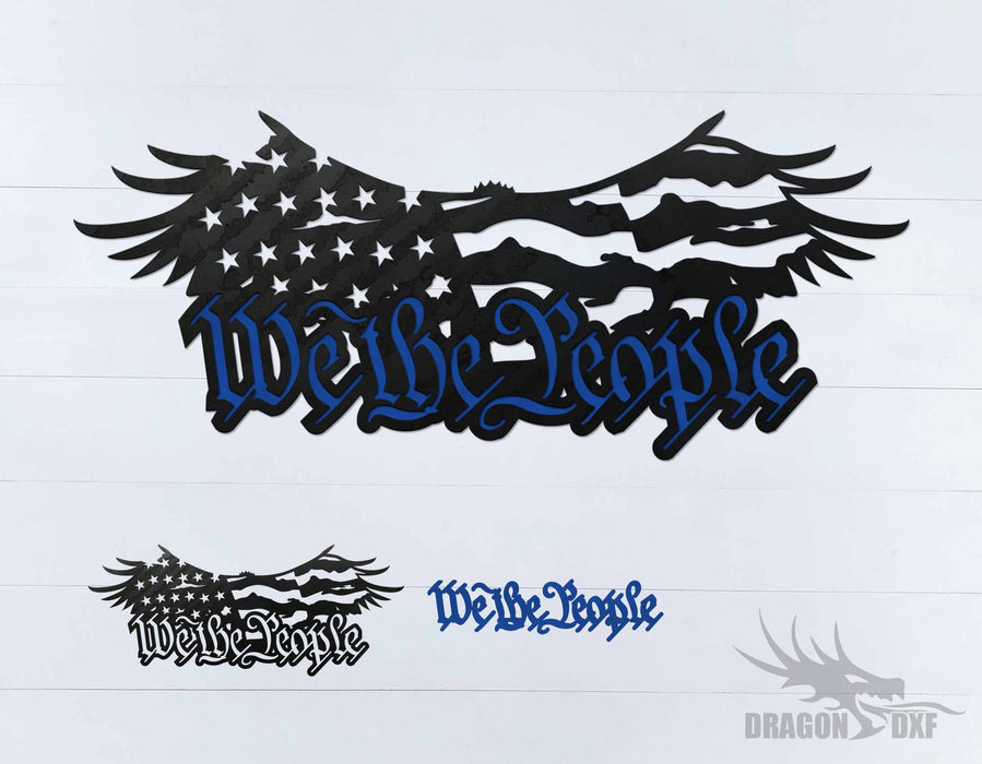 We The People Eagle and Flag 1 - DXF Download