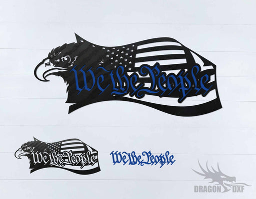 We The People Eagle and Flag 2 - DXF Download