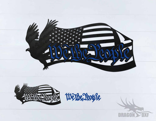We The People Eagle and Flag 3 - DXF Download