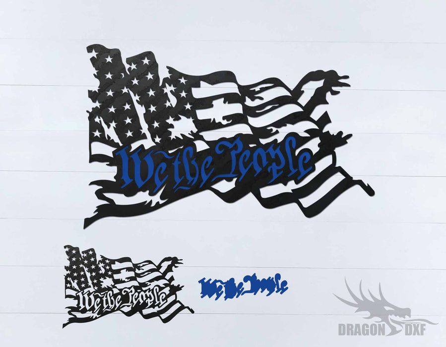 We the People - Tattered Flag 1 - DXF Download