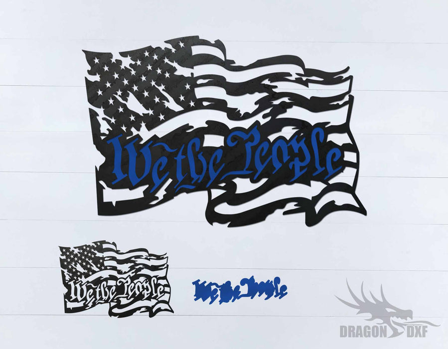 We the People - Tattered Flag 2 - DXF Download
