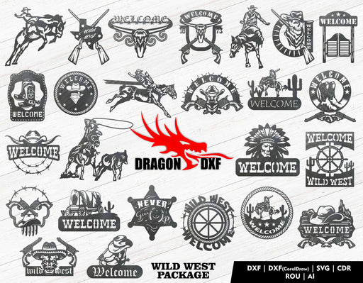 Wild West Package (25 Designs) - Plasma Laser DXF Cut File