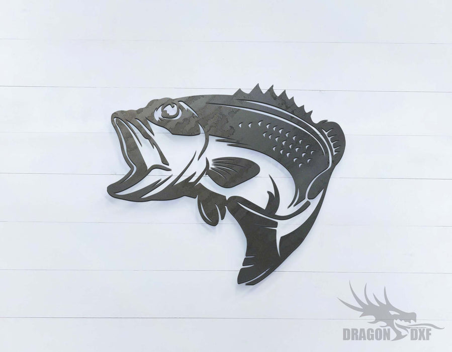 Bass Fish Facing Left - DXF Download