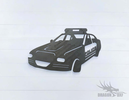 Police Car 4 Left View - DXF Download