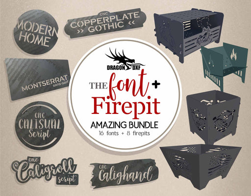 The Font plus Fire pit Amazing Bundle - DXF Download