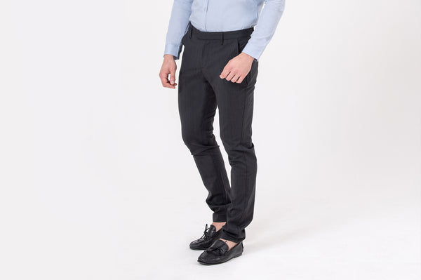 CLASSIC slim-fit, stretchable, breathable, wool-blend suit trousers in Black