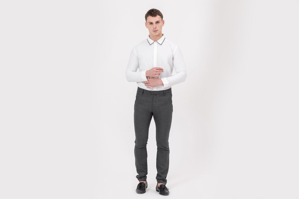 CLASSIC slim-fit, stretchable, wool-blend suit trousers in Grey for bikers