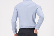 NANO WING classic, slim-fit, long sleeve shirt in blue