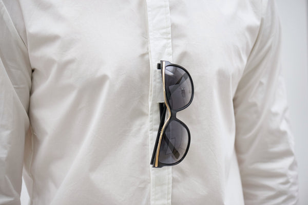 CATLIGHT self-clean long sleeve shirt in White with sunglasses holder