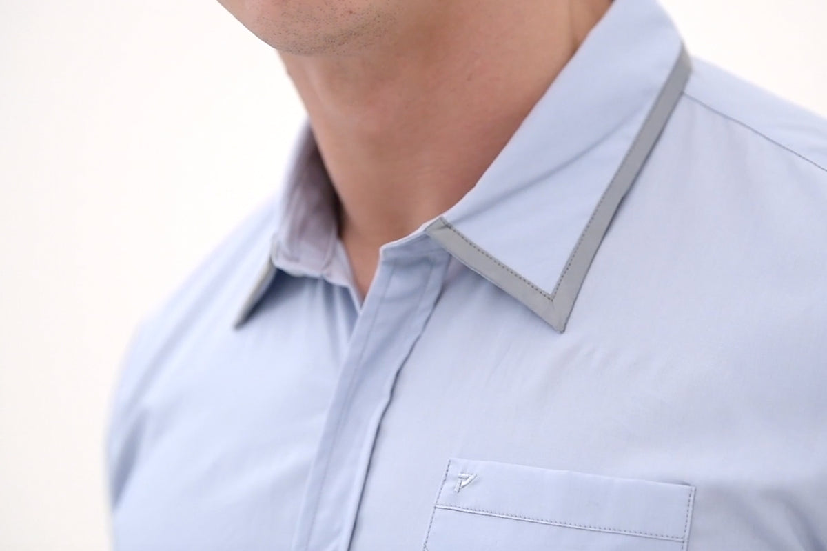 NANO WING short sleeve shirt in Blue with sunglasses holder