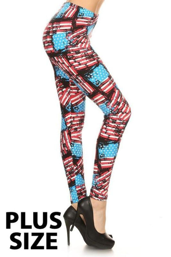 Buttery Soft One Size Printed Legging Distressed American Flag